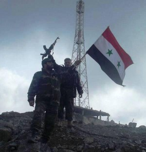 Syrian soldiers standing on Hill 45