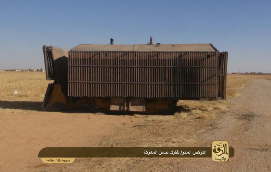 An armored vehicle used by the IS in the fighting near Tal Abyad against the YPG.