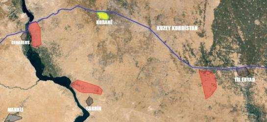 The fronts in the fighting around Kobani.