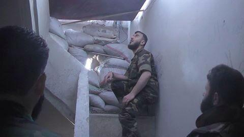 A photo of Zahran Alloush, the leader of Jaish al-Islam and the Islamic Front, in Jobar, next to Damascus.
