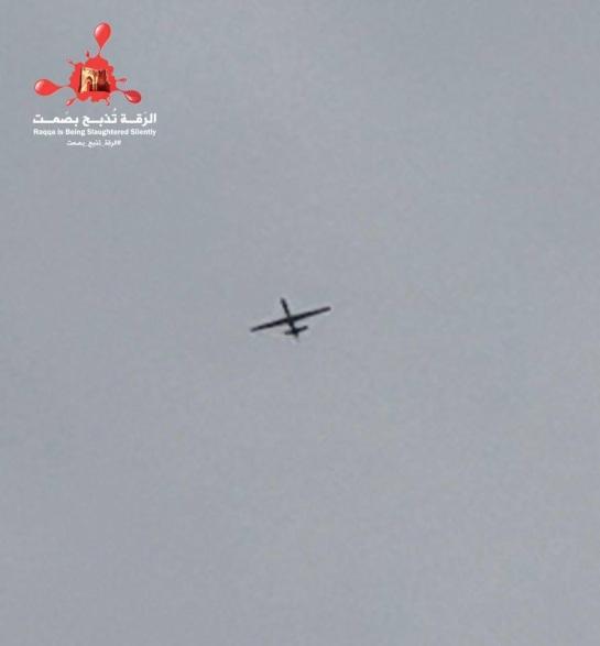 A drone flying over ar-Raqqa.