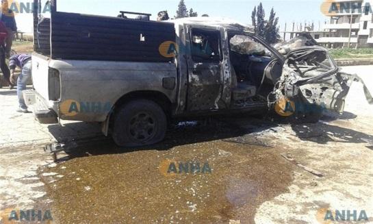An al-Assayesh car damaged by the bomb.