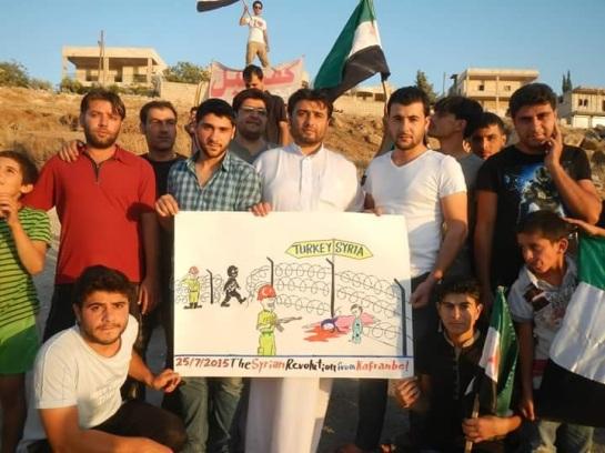 Protestors in Kafr Nabl.